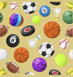 sport balls seamless pattern background vector image vector image