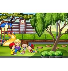 Children working in the park vector image vector image