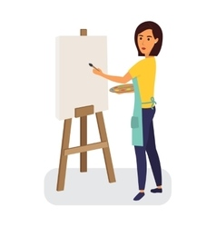 Female painter drawing on a canvas creative vector