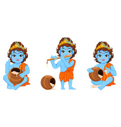 happy janmashtami celebrating birth of krishna vector image vector image