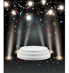 Podium with light and colorful confetti vector image vector image