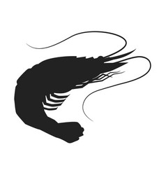shrimp icon shrimp silhouette isolated vector image vector image