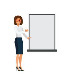 woman showing blank board cartoon flat vector image