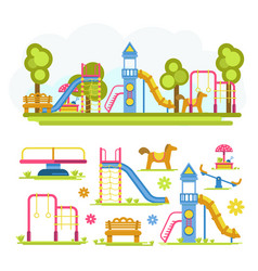 cartoon bright playground full composition and vector image