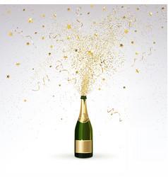 champagne and gold confetti vector image