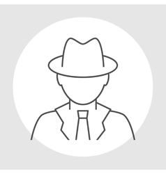 Detective avatar line icon vector image vector image
