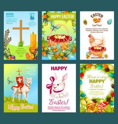 Easter holidays cartoon greeting card set vector