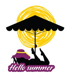 hallo summer with girl beauty silhouette vector image vector image