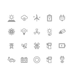set of 20 energy industry thin line icons vector image
