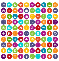 100 toys for kids icons set color vector image vector image