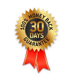 30 days money back guarantee seal label vector
