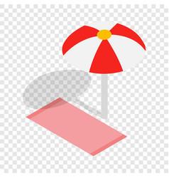 Beach towel and umbrella isometric icon vector