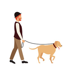 Bearded gentleman man walking with dog character vector