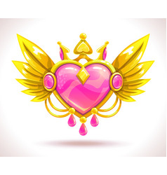 beautiful precious crystal heart icon vector image