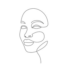 Beautiful women face in one line drawing style vector
