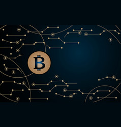 bitcoin in air technology background vector image