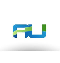 blue green au a u alphabet letter logo vector image