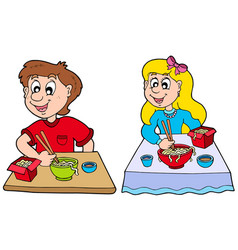boy and girl eating chinese food vector image