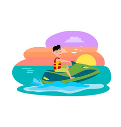 Boy riding water scooter jet ski summer activity vector