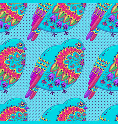 bright multicolored seamless pattern with birds vector image
