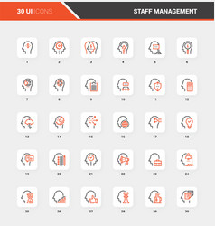 business and staff management flat line web icons vector image