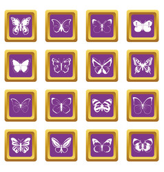 Butterfly set icons set purple vector