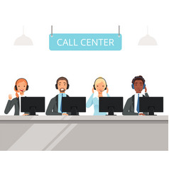 Call center characters business customer service vector