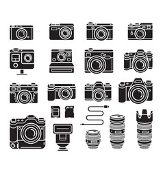 camera black icons set vector image