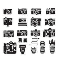 camera black icons set vector image