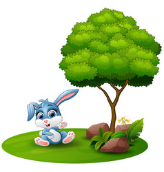 Cartoon rabbit sitting under a tree on a white bac vector