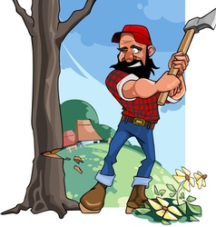 Cartoon rustic lumberjack chopping wood with an ax vector