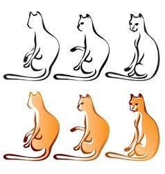 Cats line art color vector