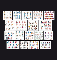 Characters collection various game flat icon vector