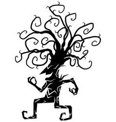 cheery tree figure silhouette cartoon vector image