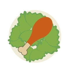 Chicken drumstick on plate icon vector