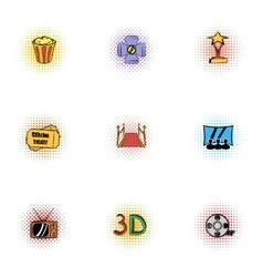 Cinema icons set pop-art style vector image vector image