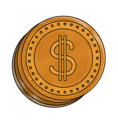 coins dollar money currency cash image vector image