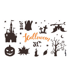 collection halloween night silhouettes vector image