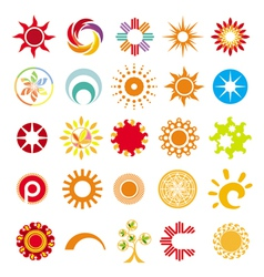 Collection of abstract symbols of the sun vector