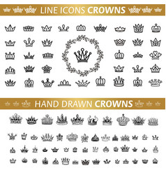 collection of creative king and queen crowns vector image