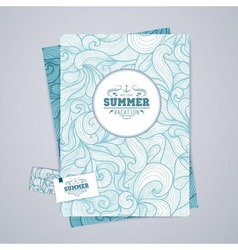 Corporate identity design Ocean summer decorative vector