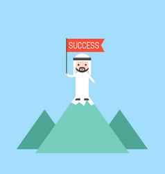 cute arab business man holding red flag stand on vector image
