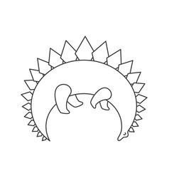 cute line dinosaur vector image