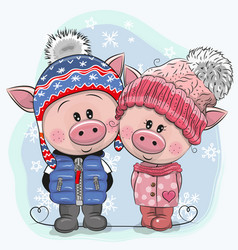 cute winter pigs boy and girl in hats and coats vector image