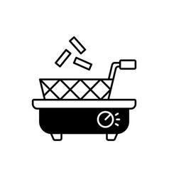 Deep fryer black linear icon vector