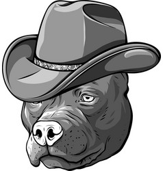 Design gangster pitbull with fedora hat vector