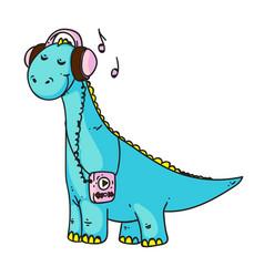 Dinosaur music lover isolated on white background vector