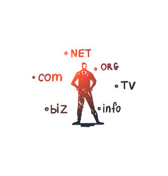 Domain internet name web hosting concept hand vector