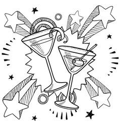 Doodle pop martini vector