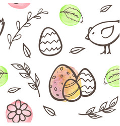 easter pattern with eggs and chicken vector image